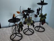 Set Of 3 Cast Iron With Grape Leaf Design Candle Holders
