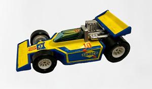 Vintage Buddy L Sunoco Oil Slot Car INDY Racer Car Toy Vehicle Sun Oil TEXACO