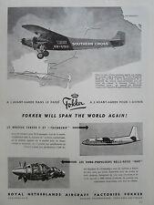 5/1955 PUB F27 FRIENDSHIP 1928 FOKKER F 7B SOUTHERN CROSS SMITH AUSTRALIA AD