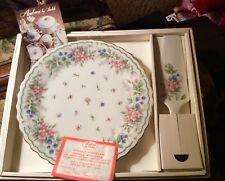 "Andrea By Sadek Cake Plate & Server Fine Porcelain ""Amy"" New in Box"