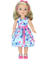 Doll Clothes Floral Easter Dress Headband Shoes For 14.5 Inch Wellie Wishers