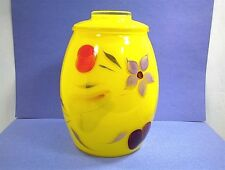 VINTAGE BARTLETT COLLINS COOKIE JAR YELLOW WITH FRUITS AND FLOWERS