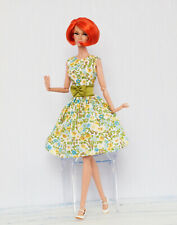 Yellow & green flowered dress for Poppy Parker, Nu face, Barbie by Olgaomi