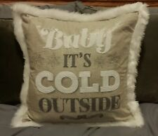 "Baby It's Cold Outside 20""x20"" Pillow~Crewel~Beige/Gray/ White Faux Fur~Christmas"