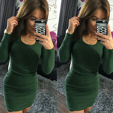 Women Long Sleeve Bandage Bodycon Evening Party Cocktail Winter Roundneck Dress
