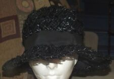 Vintage Authentic KAYBROOK Black Hat Bow Wide Brim Church Dress Retro Toronto