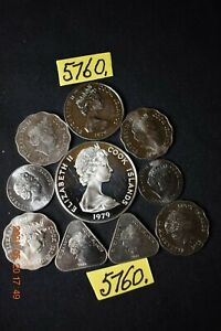 1 x  1979  $5.00 Silver    COOK Is.  and 9 loose coins    70gms