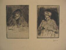 2 Intéressantes Eaux-Fortes de Maximilien LUCE / Signature manuscrite au crayon