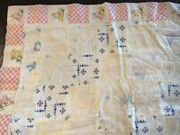 VINTAGE HOMEMADE BABY PATCHWORK QUILT PASTELS BUNNY FLORAL 51X40 SOLD AS CUT UP