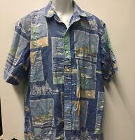 BLUEWATER WEAR Button Down Hawaiian Aloha Shirt  Blue Boat & Florida Theme L /XL