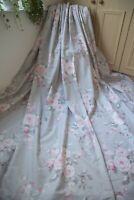 GREY PINK COUNTRY FLORAL POLY COTTON CURTAINS,66WX72D,P.PLEAT,LINED,HEAVY,+TIES