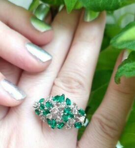 Echtschmuck 750(18K) Weißgold Ring 3,21 ct natürliche Brillanten Smaragd