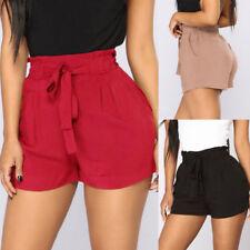 Women's Retro Tunic Fit Elastic Waist Pocket Shorts High Waist String Pants PA