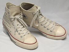 CONVERSE ALL STAR Womens Size 10.5-11 Ivory Canvas Studded HighTop Chuck Taylors