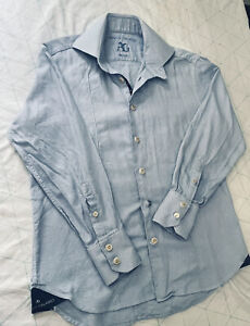 ANGELO GALASSO Mason Shirt size 42 neck 16 1/2. Blue