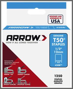 """508 T50 Staples 1/2"""" (12mm)  Steel - 1250/Pack Arrow Fastener"""
