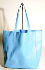 SHINOLA DETROIT Womens Denim Blue Leather Medium Shopper Tote Purse Bag NEW!
