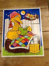 Vintage Playskool Wood Puzzle Big Bird #315-24 Bird Time Stories VGC
