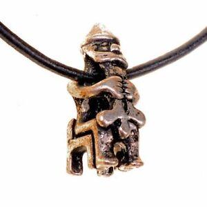 "Amulett ""Sitzender Thor"" - Wikinger Anhänger, Kette mit Lederband, Mittelalter"