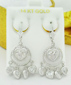 WHITE SAPPHIRES 3.40 Cts DANGLING EARRINGS 14K WHITE GOLD * New With Tag *