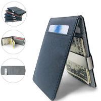 Men's PU Leather Money Clip Slim Wallet ID Credit Card Holder Case Purse New