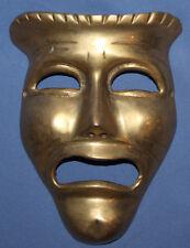 Vintage Hand Made Bronze Wall Decor Sad Mask