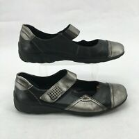 Remonte Mary Jane Comfort Shoes Cap Toe Leather Metallic Gray Black Womens 41