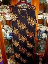 BALI BATIKS FAB 1X Dress NEW NWT Black Yellow Beads Elegant Cruise Evening