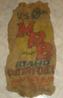 Vintage MRB Idaho Potatoes 100 Pound Burlap Sack Bag Muir-Roberts Co. (X14)