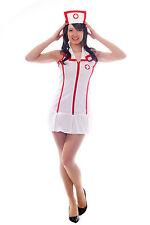 Sexy Krankenschwester Kostüm weiß mit Haube Minirock Größe S