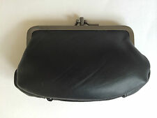 FABRETTI SOFT BLACK LEATHER DOUBLE FRAME CLASP GRANNY COIN PURSE ZIP POCKET