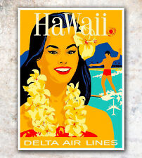 "Vintage Travel Poster Hawaii Art Print 11x14""  A644"