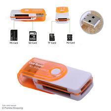 Lettore Pendrive USB 2.0 Schede Memoria Card Reader SD Mini SDHC M2 Arancione