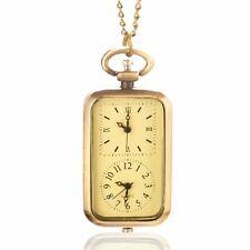 Time Zone Movement Necklace Gift P11 Bronze Quartz Pocket Watch Dual Double