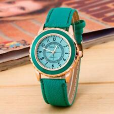 Ladies Fashion Rose Gold Geneva Quartz Green Faced Green Band Wrist Watch.