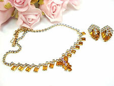 Vintage Costume Jewelry Topaz Aurrora Borealis  Rhinestone Necklace  Set