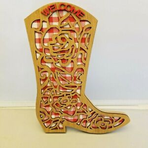Pioneer Woman Cowboy Boot Wall Decor Decoration Spring 2021 Red Gingham Rose