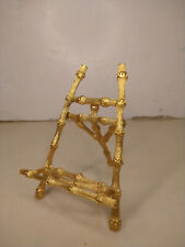 Vintage Gold Tone Metal Bamboo Design Picture Panting Desktop Easel