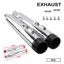 """2017-2019 4"""" Chrome Slip-On Mufflers For Touring Model Exhaust Pipe Pair"""