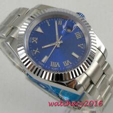 40mm BLIGER Blau dial MIYOTA sapphire Date Automatisch movement Uhr men's Watch