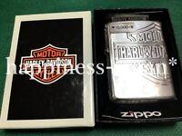 Zippo Oil Lighter Harley Davidson Silver HDP-33 Brass 4 Sides Etching Japan F/S