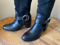 Marc Fisher Editer Leather/Suede Wide Calf Over the Knee Boot Women's 6.5 Black