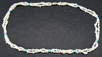 Seed pearl & turquoise stone vintage Art Deco antique necklace