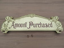 National Brass Cash Register 332 Size Yellow Brass Reproduction Top Sign
