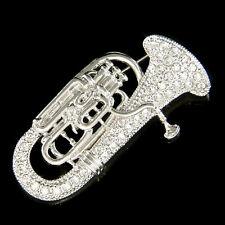 w Swarovski Crystal Tuba Euphonium Eupho Euph Baritone Horn Music Musical Brooch