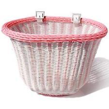 ColorBasket Oval Adult Front Bike Basket White/Pink 14.5 x 10.75 x 9.75