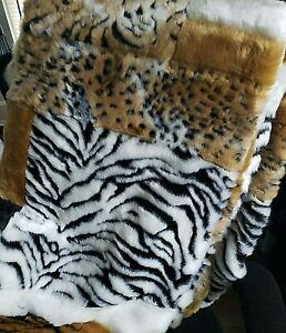 Faux Fur Fabric Cat Tiger Soft Faux Tan and Black
