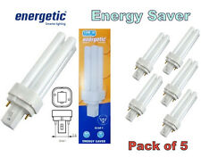 5 X Energetic 10w G24d-1 2 Pin Bajo Ahorro De Energía Fluorescente