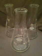 3 Used Kimax 500ml Erlenmeyer 26500 Flasks Beakers Lab Glass Chemistry Glassware