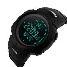 Men Army Outdoor Hiking Wristwatch Analog Digital Waterproof Compass Sport Watch
